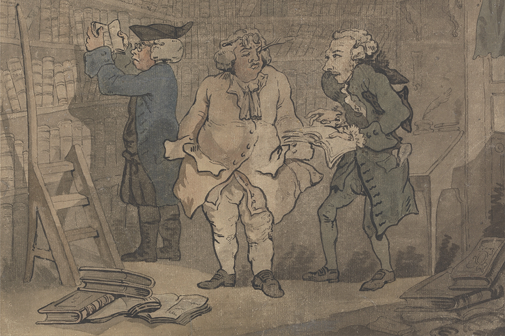 painting of three powdered wig adorned British aristocrats standing in a study
